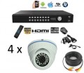 Pakke HD-SDI DVR og 4 HD IR dome-kameraer 2.8-12mm
